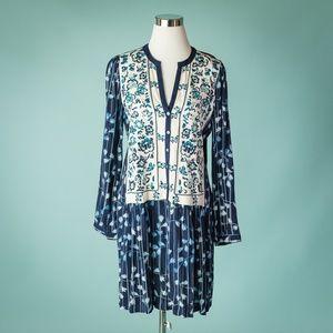 Anthropologie Tiny M Blue Semele Embroidered Dress